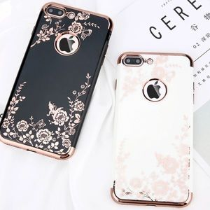 LUXURIOUS IPHONE 7 8 PLUS CASE ROSE GOLD FLOWERS